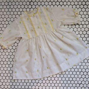 Other - Vintage Sheer Yellow Rosebud Infant Dress